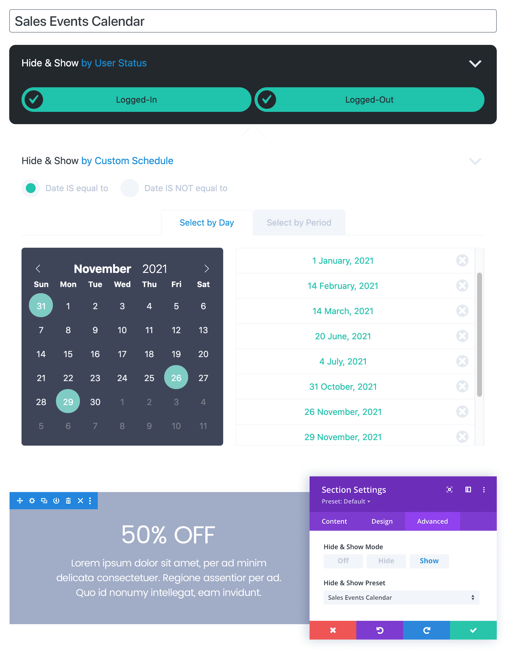 A Hide & Show PRO Annual Sales Events usage example