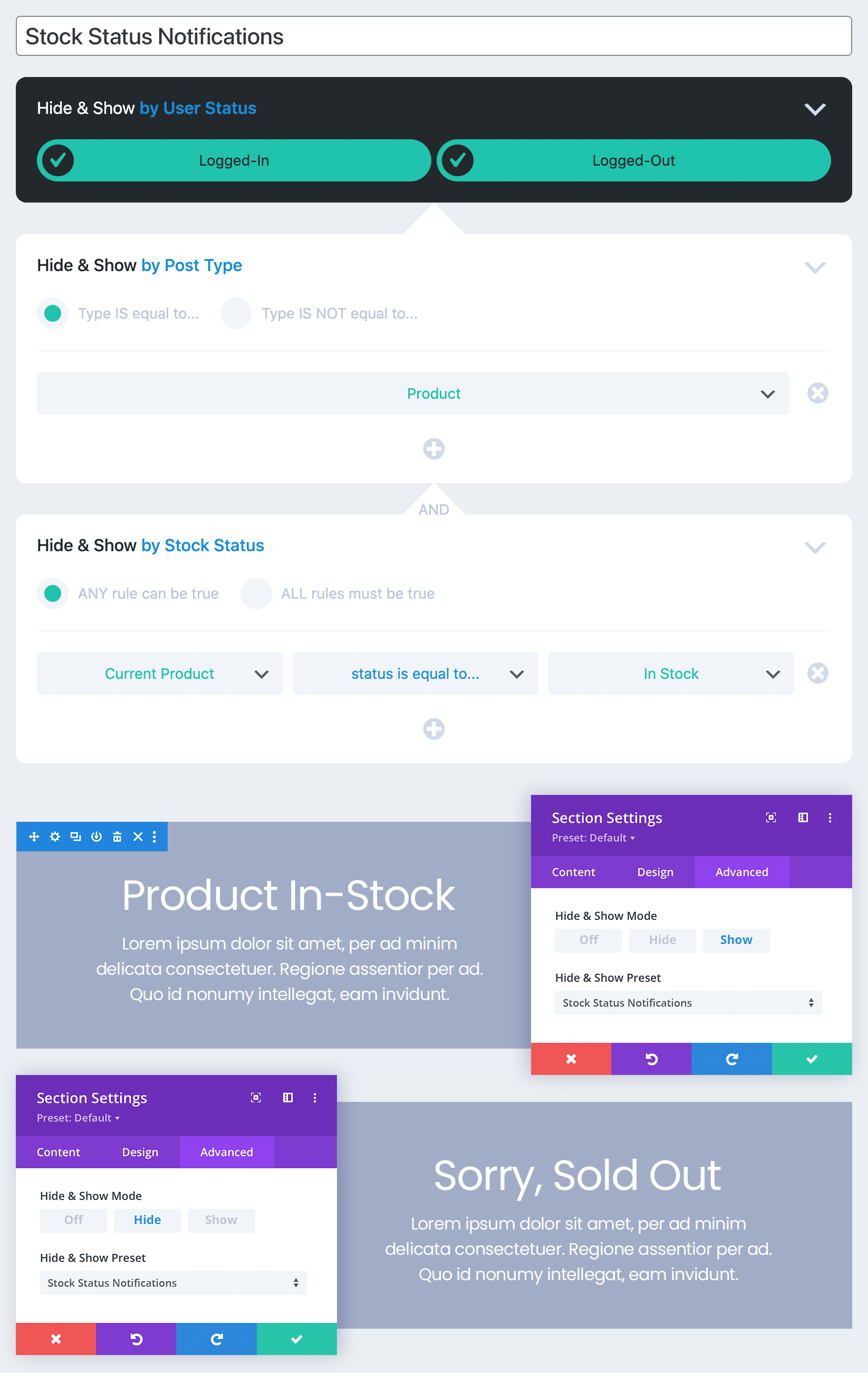 A Hide & Show PRO Stock Status usage example