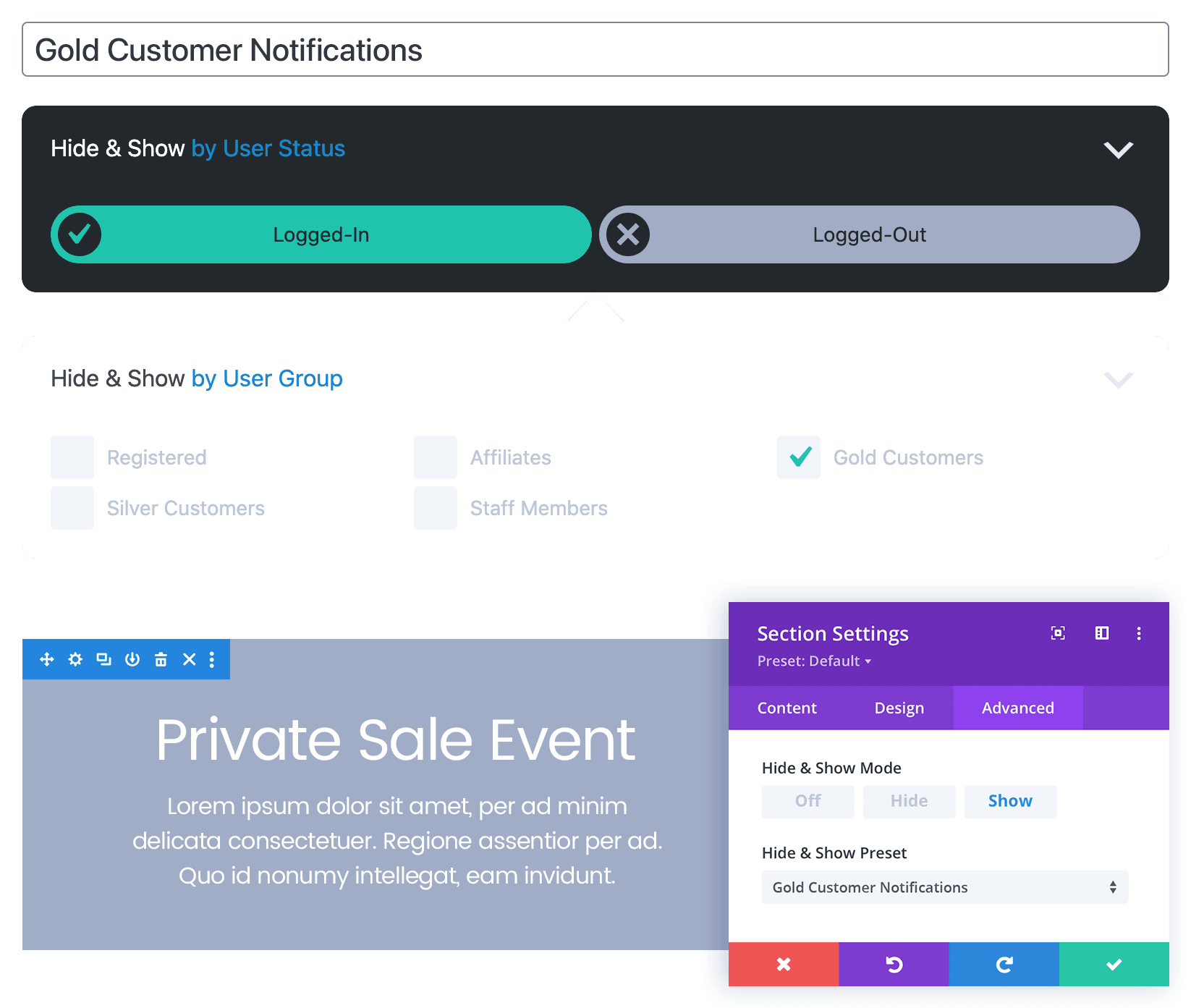 A Hide & Show PRO Targeted Content usage example