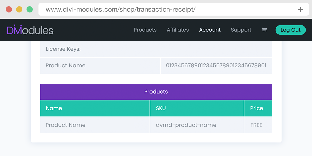 The purchase transaction receipt