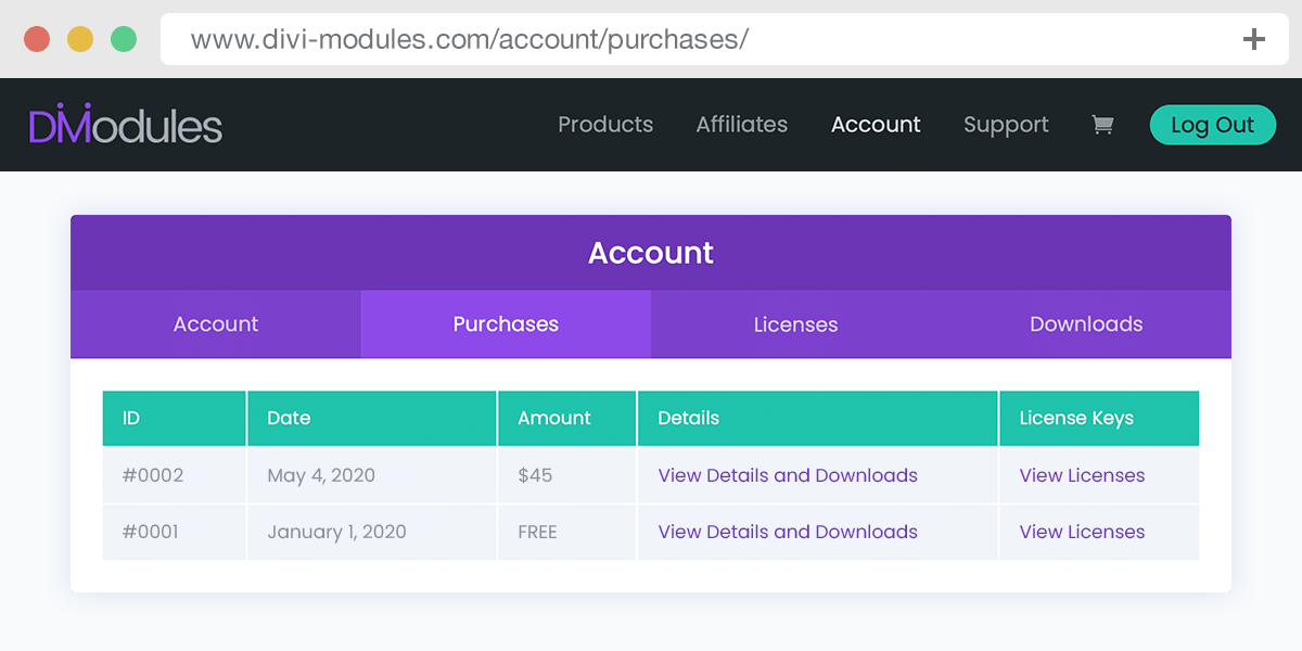 The purchases area of the Divi-Modules user account