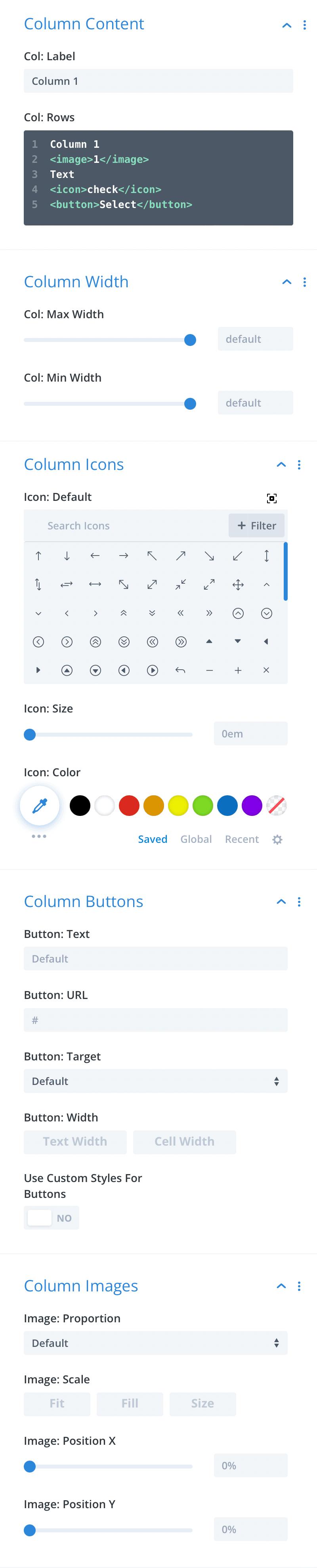 Divi-Modules – Table Maker column content settings