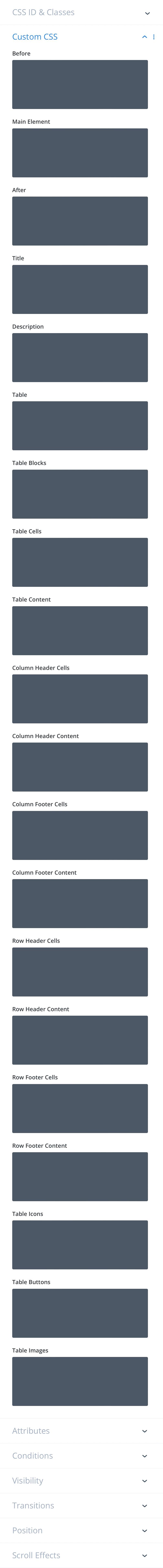 Divi-Modules – Table Maker advanced settings