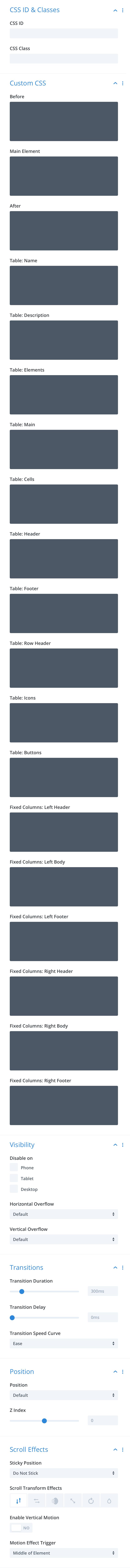 Divi-Modules – TablePress Styler advanced settings